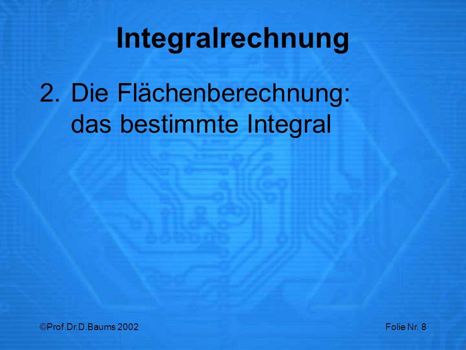 ©Prof.Dr.D.Baums 2002Folie Nr. 8 2.Die Flächenberechnung: das bestimmte Integral Integralrechnung