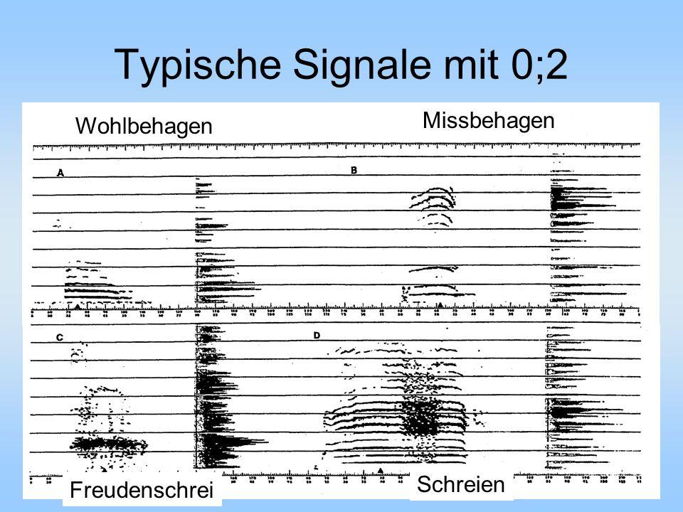 Typische Signale mit 0;2 Schreien Wohlbehagen Missbehagen Freudenschrei