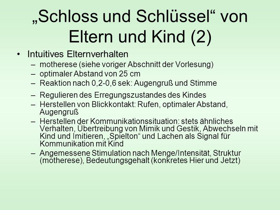 """""""Schloss und Schlüssel"""" von Eltern und Kind (2) Intuitives Elternverhalten –motherese (siehe voriger Abschnitt der Vorlesung) –optimaler Abstand von 2"""