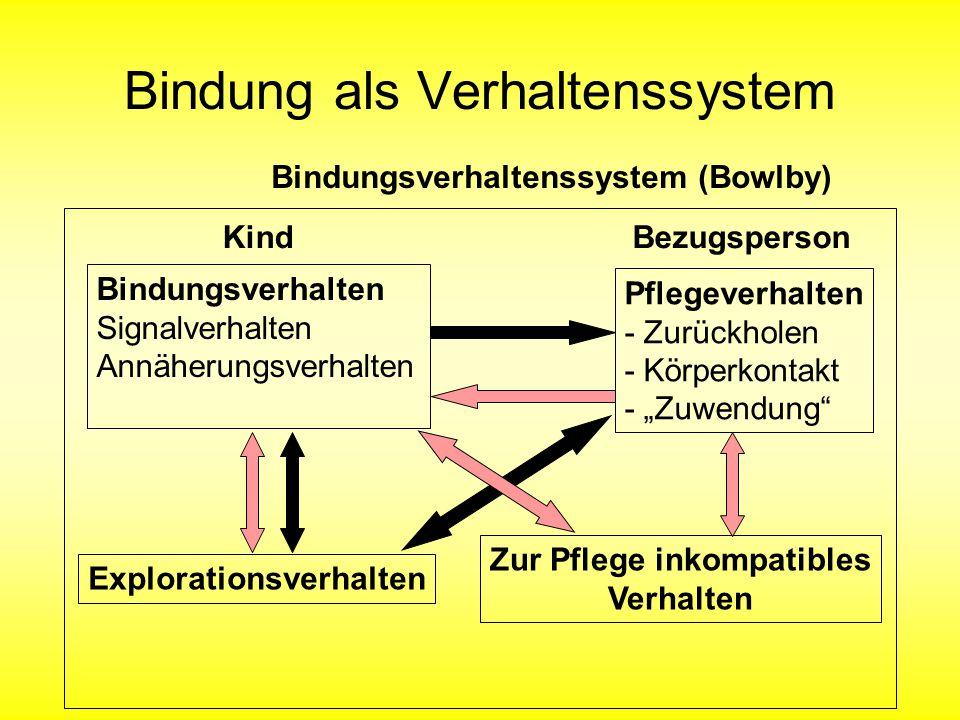 """Bindung als Verhaltenssystem Bindungsverhalten Signalverhalten Annäherungsverhalten Kind Pflegeverhalten - Zurückholen - Körperkontakt - """"Zuwendung"""" B"""
