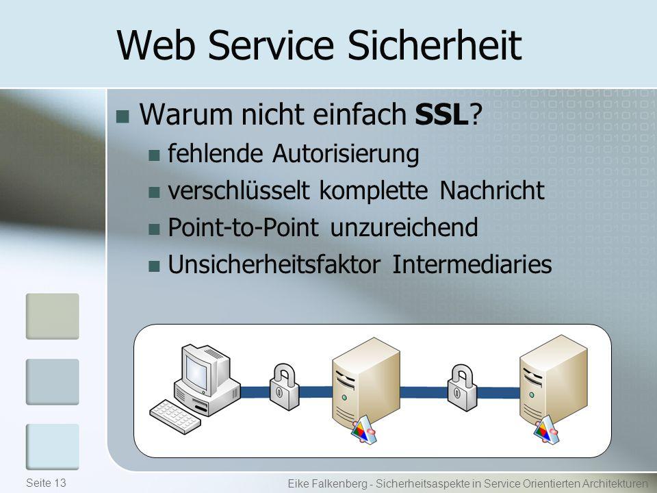 Web Service Sicherheit Warum nicht einfach SSL.