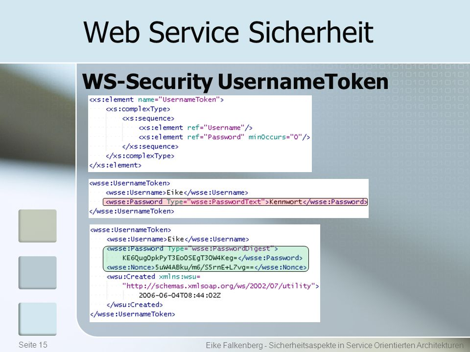 Web Service Sicherheit WS-Security UsernameToken Eike Falkenberg - Sicherheitsaspekte in Service Orientierten Architekturen Seite 15