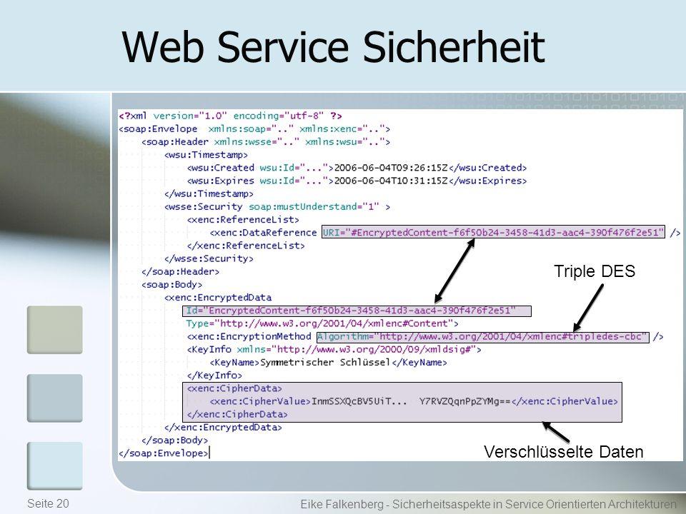 Web Service Sicherheit Eike Falkenberg - Sicherheitsaspekte in Service Orientierten Architekturen Triple DES Verschlüsselte Daten Seite 20