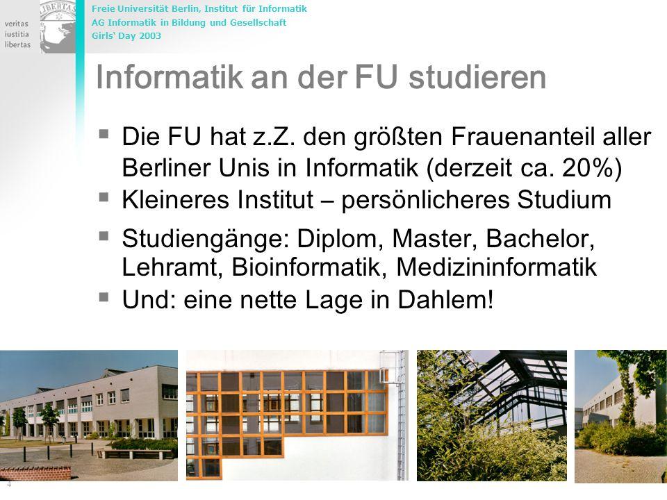 Freie Universität Berlin, Institut für Informatik AG Informatik in Bildung und Gesellschaft Girls' Day 2003 4 Marco.Rademacher@inf.fu-berlin.de Inform