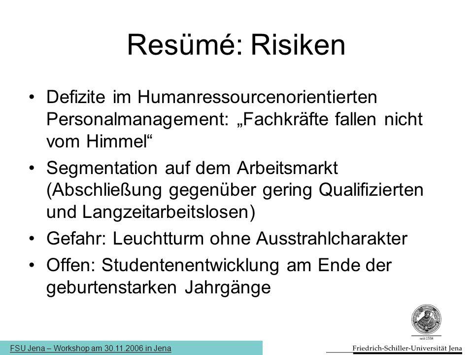 """FSU Jena – Workshop am 30.11.2006 in Jena Resümé: Risiken Defizite im Humanressourcenorientierten Personalmanagement: """"Fachkräfte fallen nicht vom Him"""