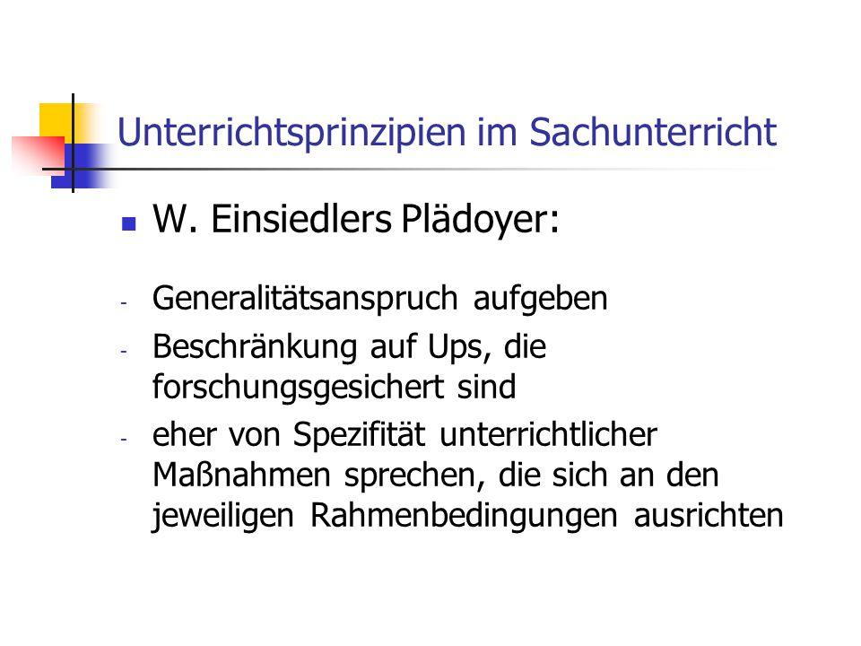 Unterrichtsprinzipien im Sachunterricht W. Einsiedlers Plädoyer: - Generalitätsanspruch aufgeben - Beschränkung auf Ups, die forschungsgesichert sind