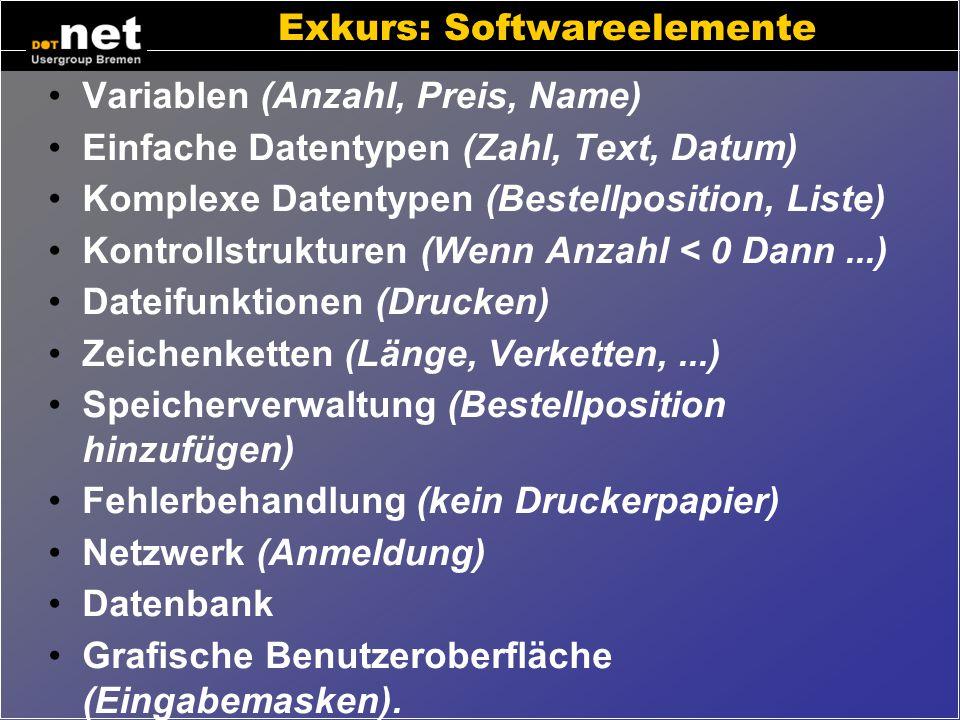 Exkurs: Elemente am Beispiel Bsp: gedruckte Rechnung