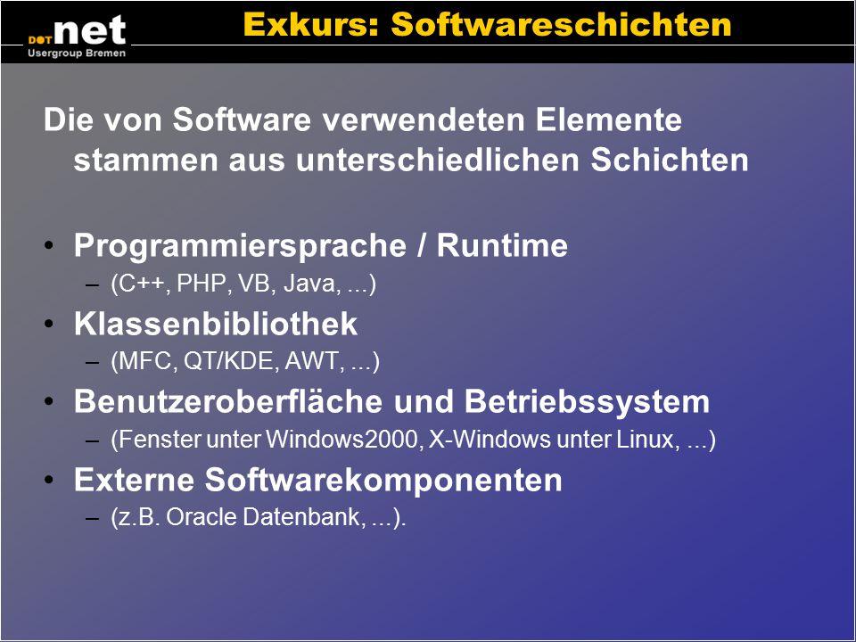 Exkurs: Softwareelemente Variablen (Anzahl, Preis, Name) Einfache Datentypen (Zahl, Text, Datum) Komplexe Datentypen (Bestellposition, Liste) Kontroll