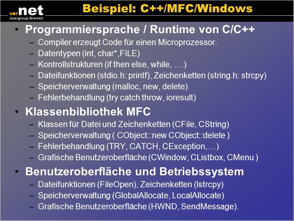 Exkurs: Softwareschichten Die von Software verwendeten Elemente stammen aus unterschiedlichen Schichten Programmiersprache / Runtime –(C++, PHP, VB, J