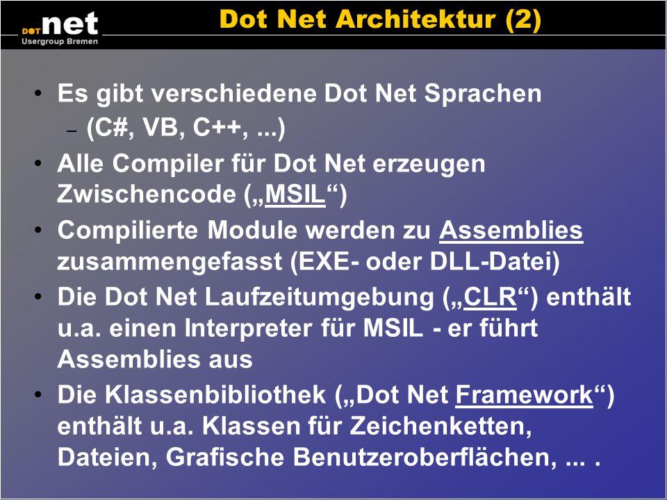 "Dot Net Architektur (1) VB – Quellcode C# - Quellcode Java – Quellcode VB – Compiler C# - Compiler Java – Compiler Assembly Klassenbibliothek (""Framew"