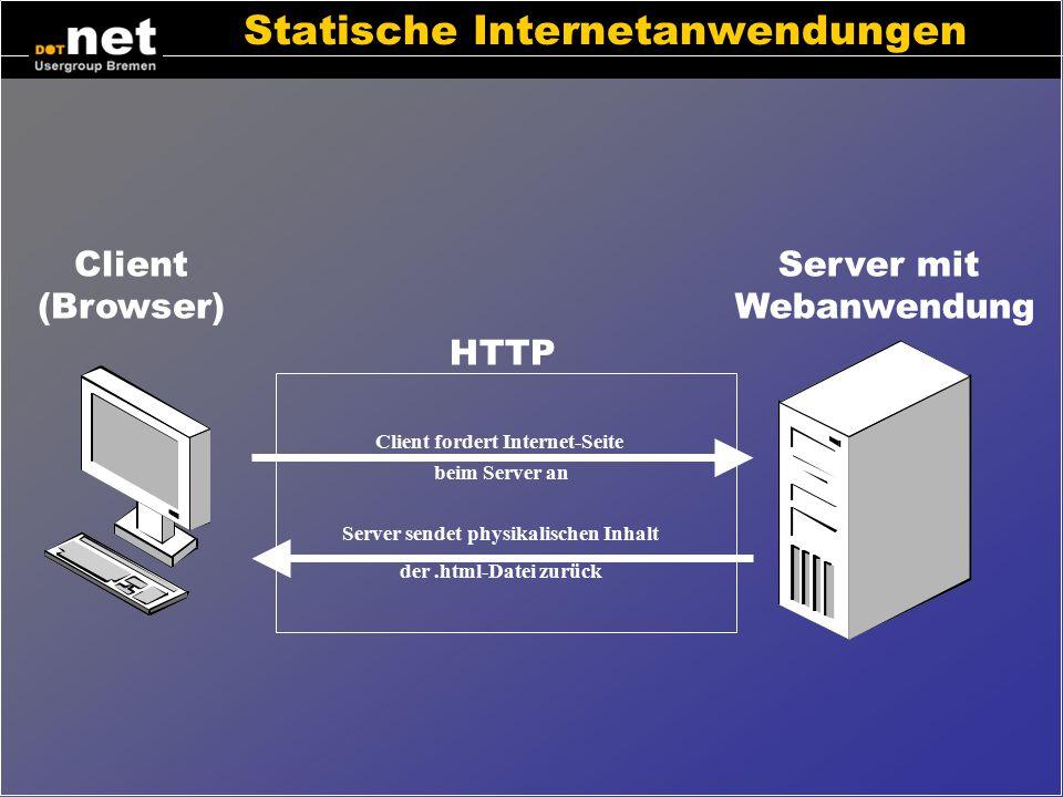 ASP.net Konzepte Erstellung von dynamischen Internet-Seiten Ereignisgesteuerte Programmierung –wie unter Delphi, Visual Basic oder Dot Net WindowsForm