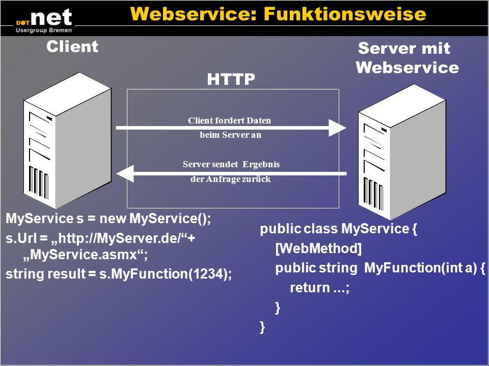 Dot Net Webservice – Konzepte Webservice –Zweck: Datenaustausch zwischen Programmen –Oft auch bezeichnet als A2A, EDI, EAI –Alternative zu RPC, DCOM V