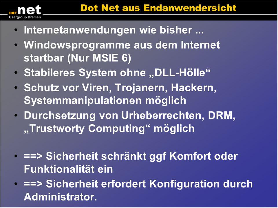 Eigenschaften von Dot Net Eigenschaften aus unterschiedlichen Blickwinkeln Endanwender Administrator Manager Entwickler.
