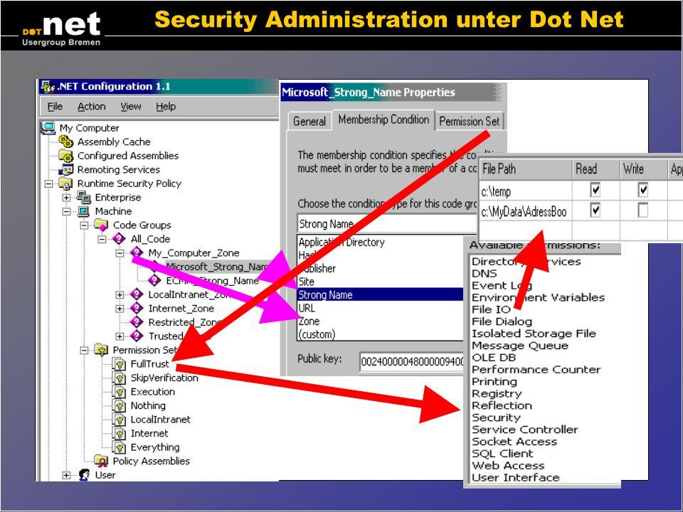 """Dot Net aus Endanwendersicht Internetanwendungen wie bisher... Windowsprogramme aus dem Internet startbar (Nur MSIE 6) Stabileres System ohne """"DLL-Höl"""