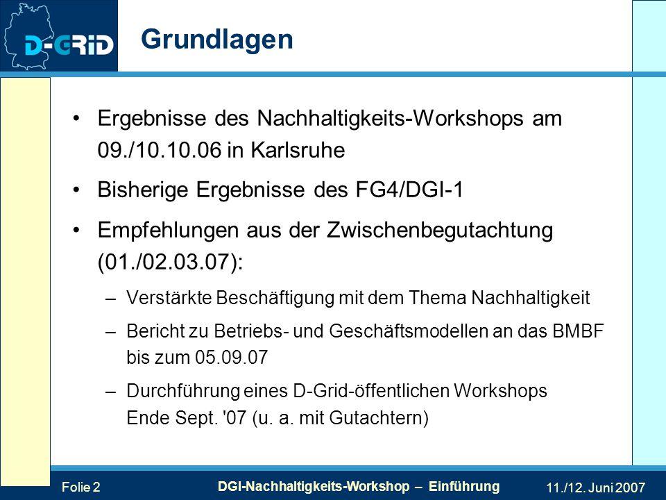 Folie 2 DGI-Nachhaltigkeits-Workshop – Einführung 11./12.