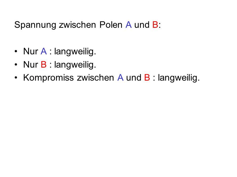 Spannung zwischen Polen A und B: Nur A : langweilig.