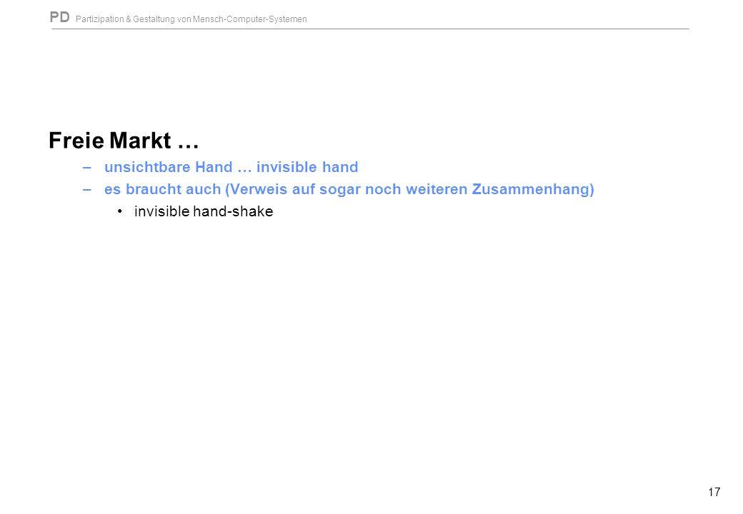 PD Partizipation & Gestaltung von Mensch-Computer-Systemen 17 Freie Markt … –unsichtbare Hand … invisible hand –es braucht auch (Verweis auf sogar noch weiteren Zusammenhang) invisible hand-shake
