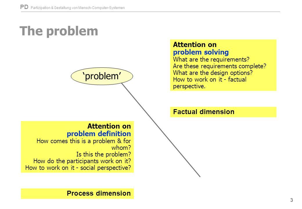 PD Partizipation & Gestaltung von Mensch-Computer-Systemen 3 The problem 'problem' Attention on problem definition How comes this is a problem & for w