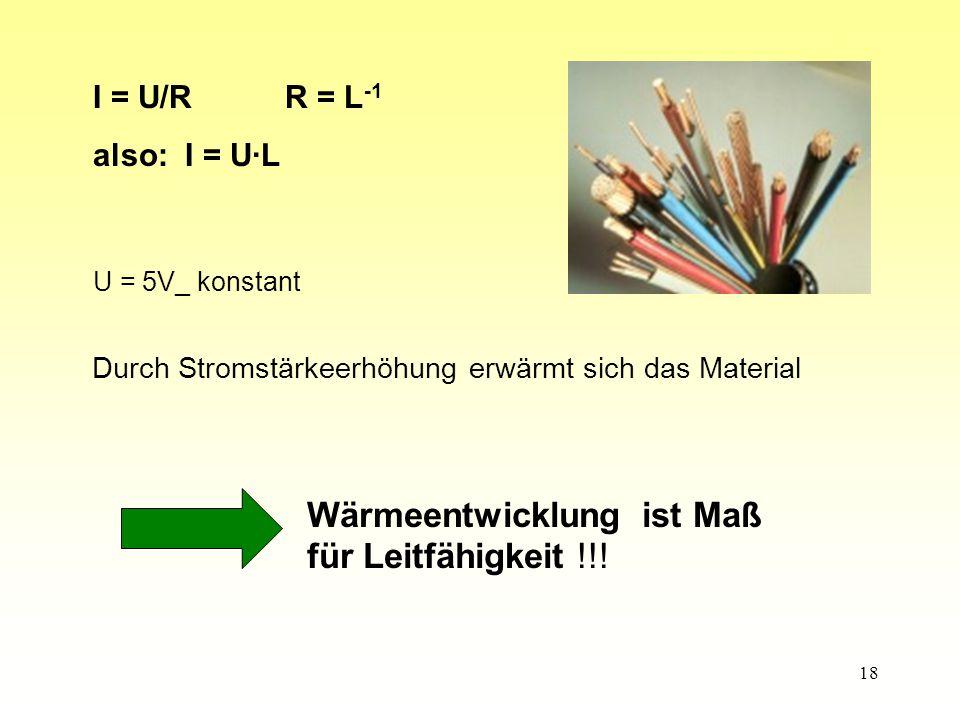 18 I = U/RR = L -1 also: I = U·L U = 5V_ konstant Wärmeentwicklung ist Maß für Leitfähigkeit !!.