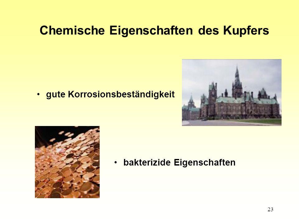 23 Chemische Eigenschaften des Kupfers gute Korrosionsbeständigkeit bakterizide Eigenschaften