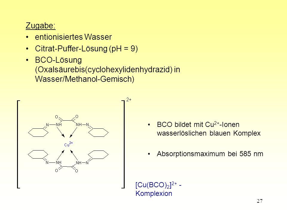 27 BCO bildet mit Cu 2+ -Ionen wasserlöslichen blauen Komplex Absorptionsmaximum bei 585 nm [Cu(BCO) 2 ] 2+ - Komplexion Zugabe: entionisiertes Wasser Citrat-Puffer-Lösung (pH = 9) BCO-Lösung (Oxalsäurebis(cyclohexylidenhydrazid) in Wasser/Methanol-Gemisch)