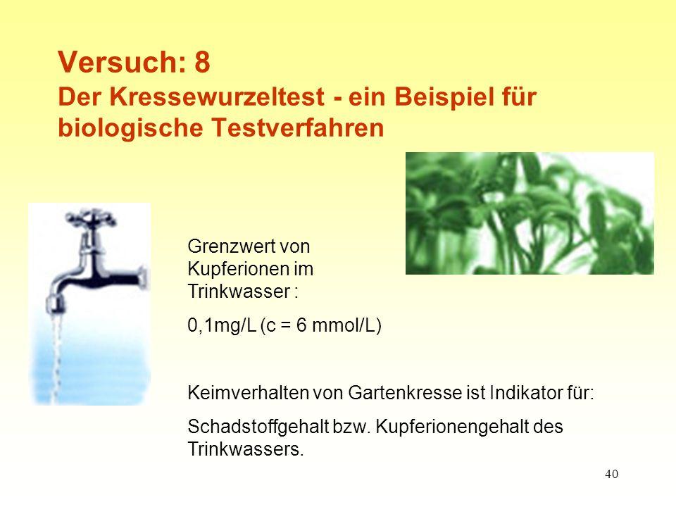 40 Versuch: 8 Der Kressewurzeltest - ein Beispiel für biologische Testverfahren Grenzwert von Kupferionen im Trinkwasser : 0,1mg/L (c = 6 mmol/L) Keimverhalten von Gartenkresse ist Indikator für: Schadstoffgehalt bzw.