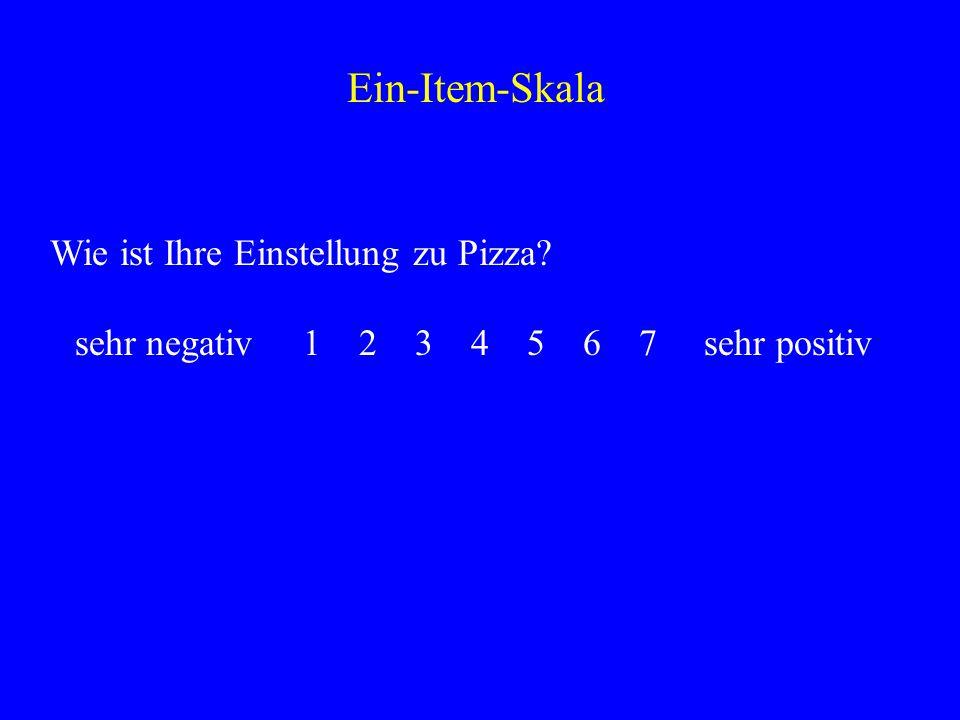 Wie ist Ihre Einstellung zu Pizza? sehr negativ 1 2 3 4 5 6 7 sehr positiv Ein-Item-Skala