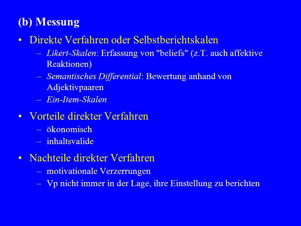 (b) Messung Direkte Verfahren oder Selbstberichtskalen –Likert-Skalen: Erfassung von