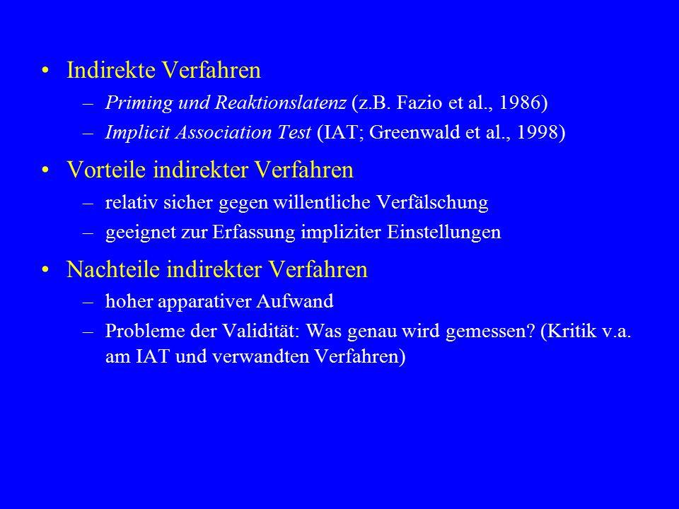 Indirekte Verfahren –Priming und Reaktionslatenz (z.B. Fazio et al., 1986) –Implicit Association Test (IAT; Greenwald et al., 1998) Vorteile indirekte
