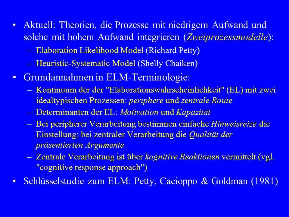 Aktuell: Theorien, die Prozesse mit niedrigem Aufwand und solche mit hohem Aufwand integrieren (Zweiprozessmodelle): –Elaboration Likelihood Model (Ri