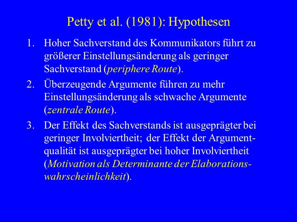 Petty et al. (1981): Hypothesen 1.Hoher Sachverstand des Kommunikators führt zu größerer Einstellungsänderung als geringer Sachverstand (periphere Rou