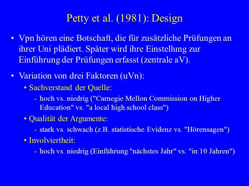 Petty et al. (1981): Design Vpn hören eine Botschaft, die für zusätzliche Prüfungen an ihrer Uni plädiert. Später wird ihre Einstellung zur Einführung