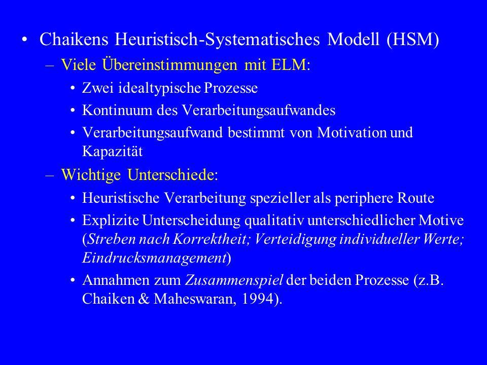 Chaikens Heuristisch-Systematisches Modell (HSM) –Viele Übereinstimmungen mit ELM: Zwei idealtypische Prozesse Kontinuum des Verarbeitungsaufwandes Ve
