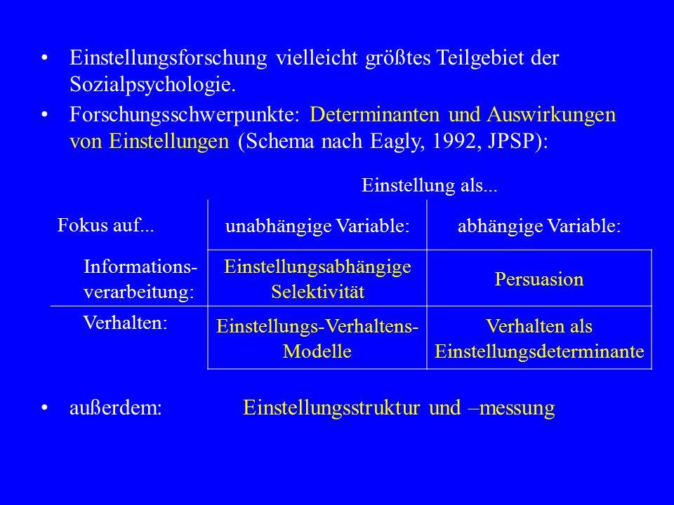 Aktuell: Theorien, die Prozesse mit niedrigem Aufwand und solche mit hohem Aufwand integrieren (Zweiprozessmodelle): –Elaboration Likelihood Model (Richard Petty) –Heuristic-Systematic Model (Shelly Chaiken) Grundannahmen in ELM-Terminologie: –Kontinuum der der Elaborationswahrscheinlichkeit (EL) mit zwei idealtypischen Prozessen: periphere und zentrale Route –Determinanten der EL: Motivation und Kapazität –Bei peripherer Verarbeitung bestimmen einfache Hinweisreize die Einstellung; bei zentraler Verarbeitung die Qualität der präsentierten Argumente –Zentrale Verarbeitung ist über kognitive Reaktionen vermittelt (vgl.