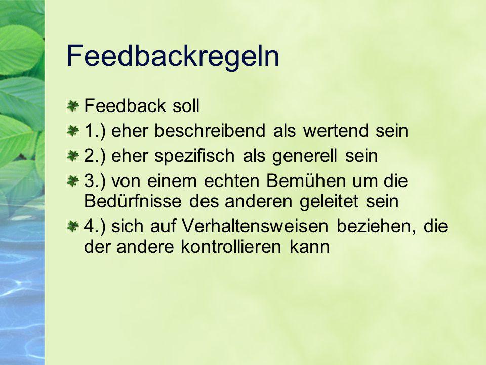 Feedbackregeln Feedback soll 1.) eher beschreibend als wertend sein 2.) eher spezifisch als generell sein 3.) von einem echten Bemühen um die Bedürfni