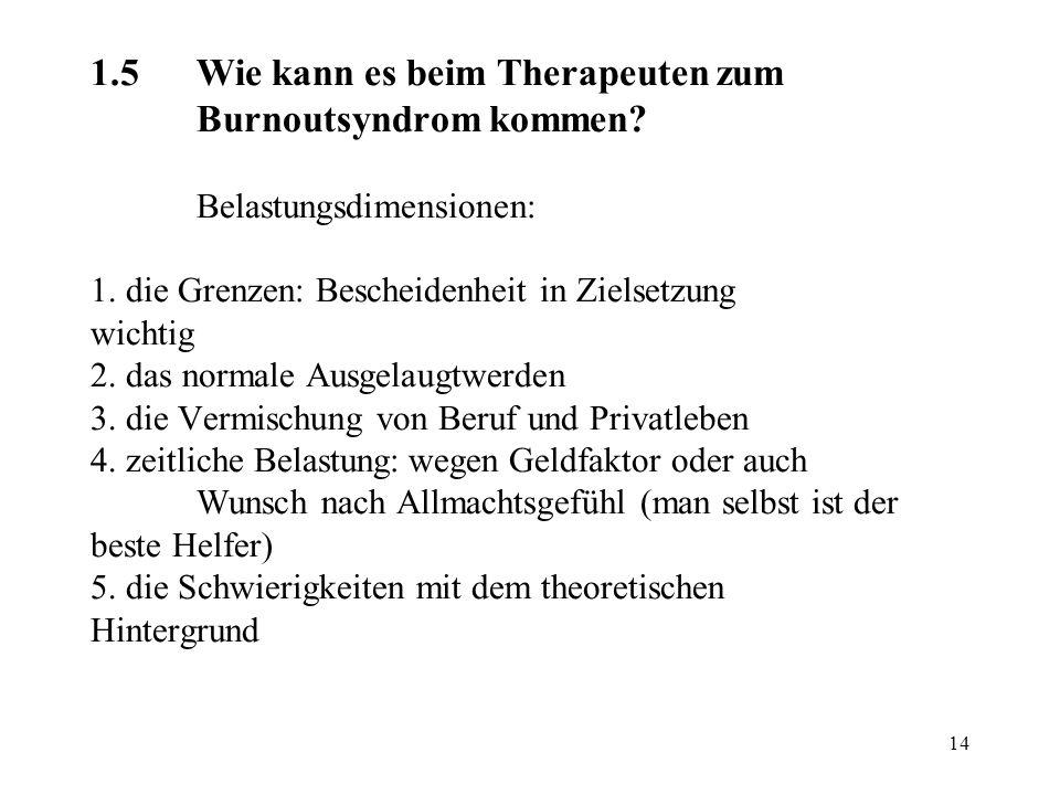 14 1.5Wie kann es beim Therapeuten zum Burnoutsyndrom kommen? Belastungsdimensionen: 1. die Grenzen: Bescheidenheit in Zielsetzung wichtig 2. das norm
