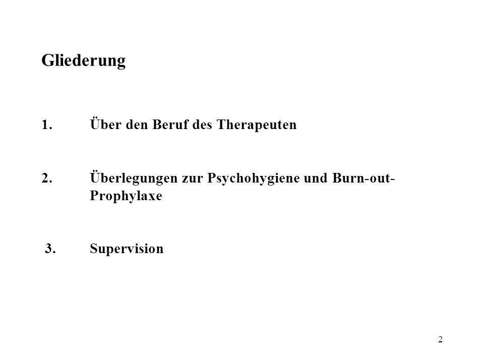 2 Gliederung 1.Über den Beruf des Therapeuten 2.Überlegungen zur Psychohygiene und Burn-out- Prophylaxe 3.Supervision