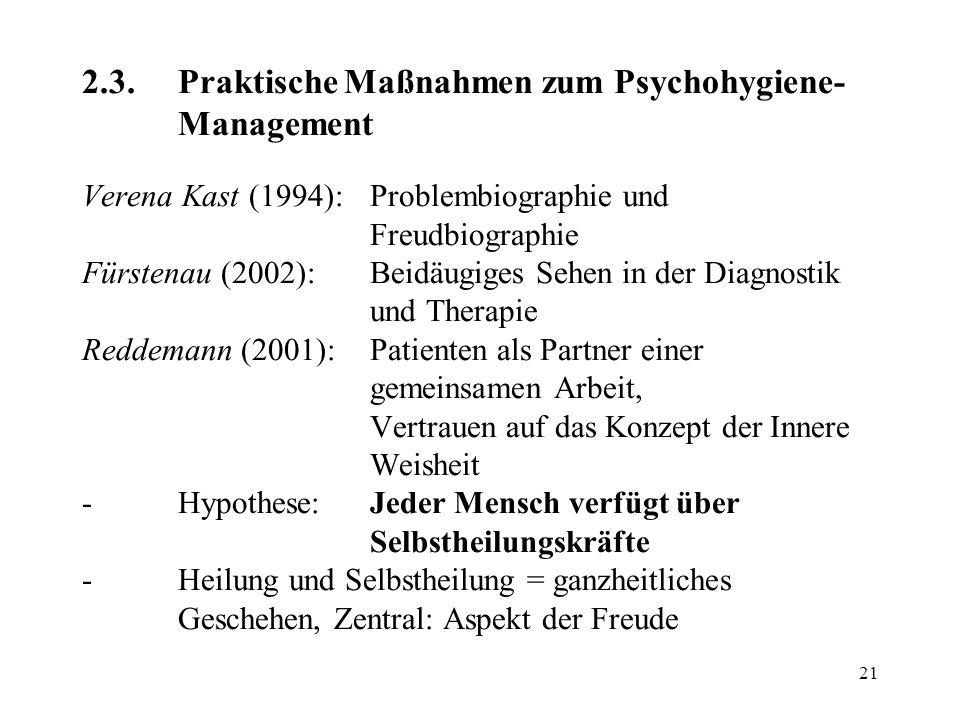 21 2.3.Praktische Maßnahmen zum Psychohygiene- Management Verena Kast (1994):Problembiographie und Freudbiographie Fürstenau (2002):Beidäugiges Sehen