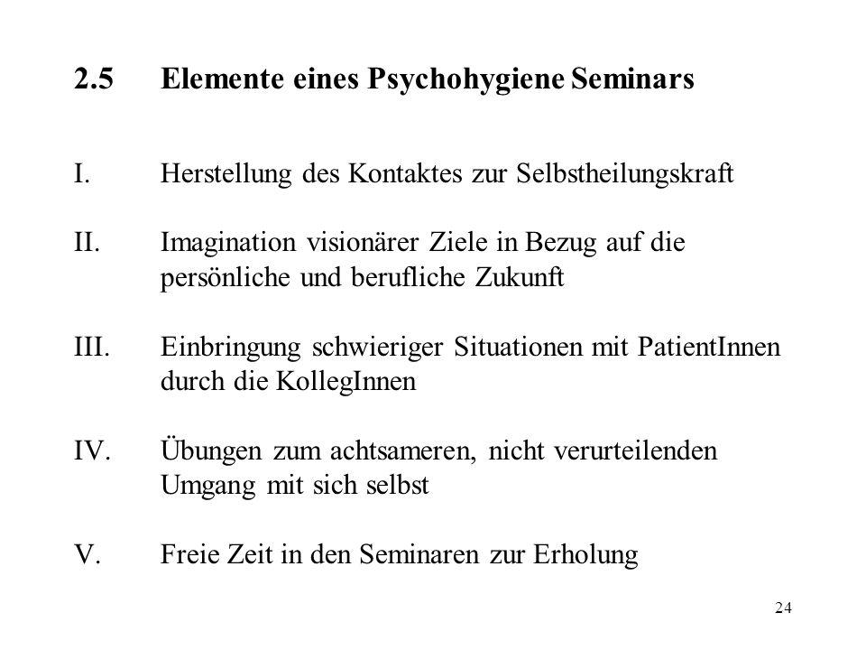 24 2.5Elemente eines Psychohygiene Seminars I.Herstellung des Kontaktes zur Selbstheilungskraft II.Imagination visionärer Ziele in Bezug auf die persö