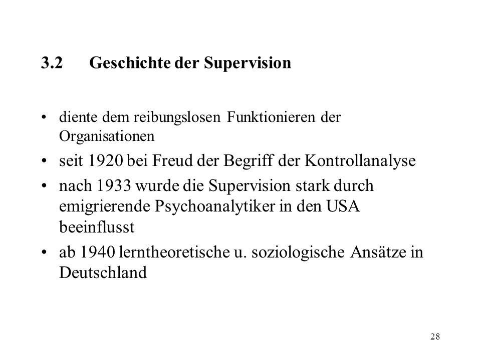 28 3.2Geschichte der Supervision diente dem reibungslosen Funktionieren der Organisationen seit 1920 bei Freud der Begriff der Kontrollanalyse nach 19