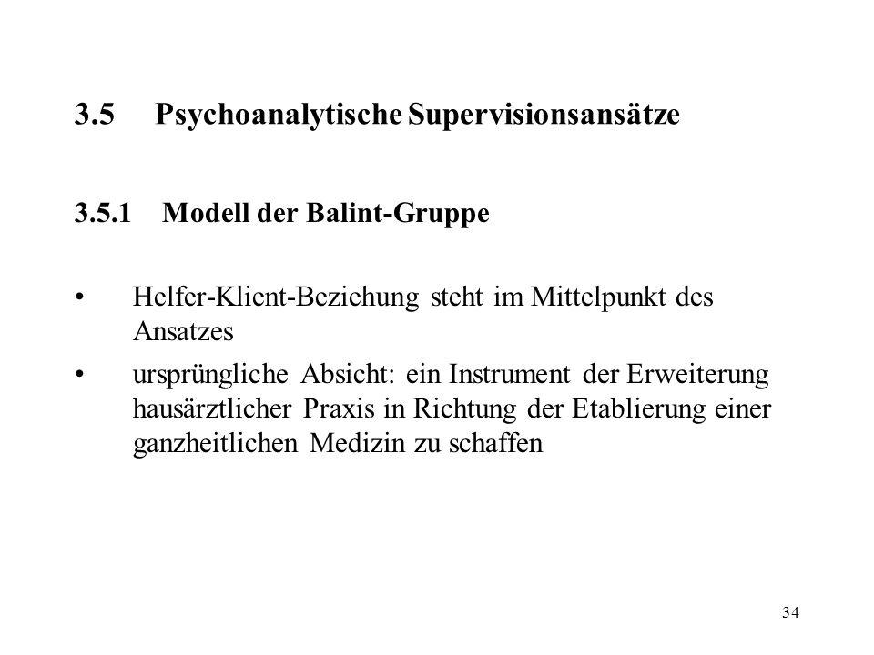 34 3.5Psychoanalytische Supervisionsansätze 3.5.1Modell der Balint-Gruppe Helfer-Klient-Beziehung steht im Mittelpunkt des Ansatzes ursprüngliche Absi