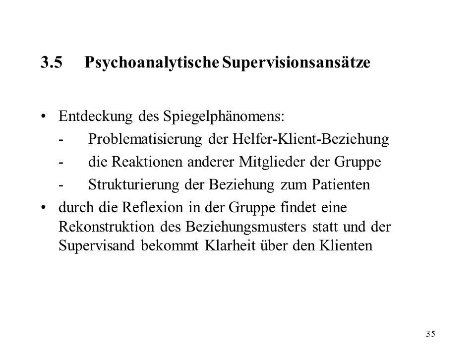 35 3.5Psychoanalytische Supervisionsansätze Entdeckung des Spiegelphänomens: -Problematisierung der Helfer-Klient-Beziehung -die Reaktionen anderer Mi