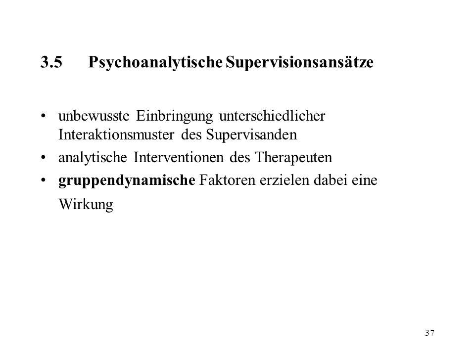 37 3.5Psychoanalytische Supervisionsansätze unbewusste Einbringung unterschiedlicher Interaktionsmuster des Supervisanden analytische Interventionen d