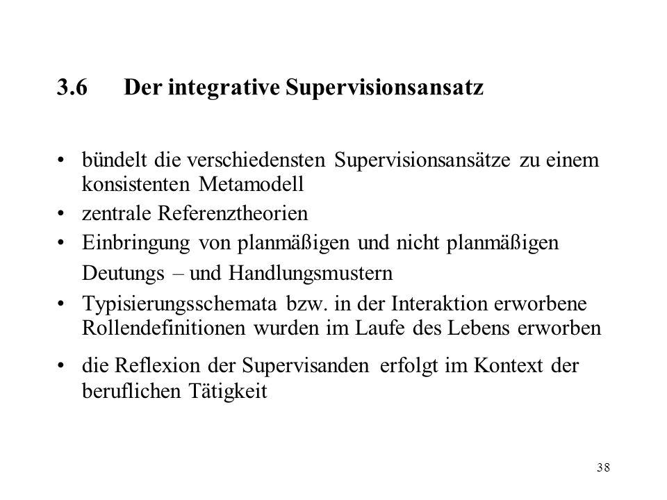 38 3.6Der integrative Supervisionsansatz bündelt die verschiedensten Supervisionsansätze zu einem konsistenten Metamodell zentrale Referenztheorien Ei
