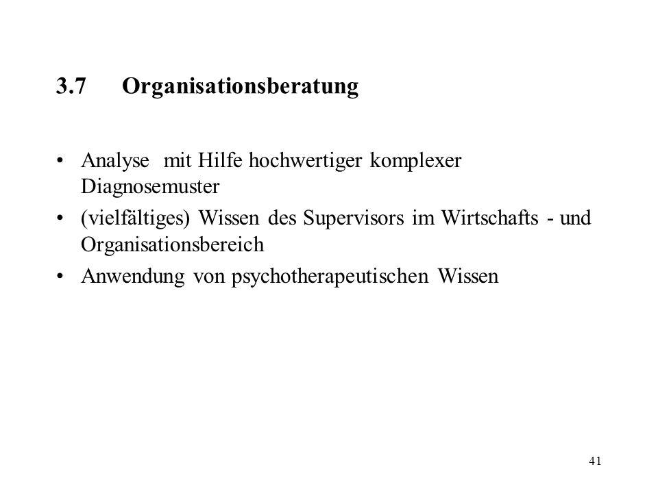 41 3.7Organisationsberatung Analyse mit Hilfe hochwertiger komplexer Diagnosemuster (vielfältiges) Wissen des Supervisors im Wirtschafts - und Organis