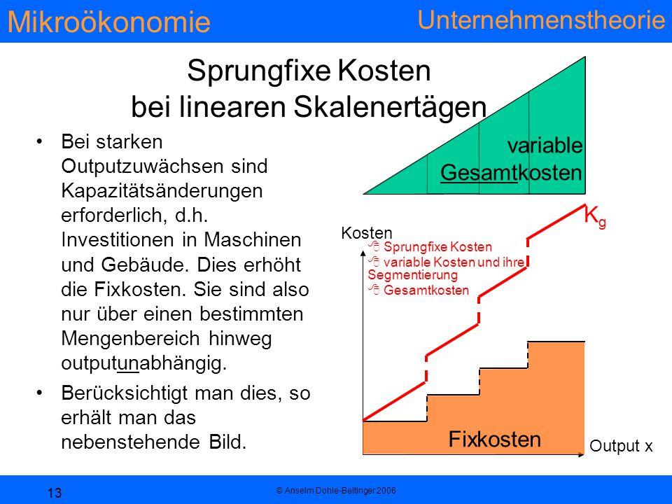 Mikroökonomie Unternehmenstheorie © Anselm Dohle-Beltinger 2006 13 variable Gesamtkosten Sprungfixe Kosten bei linearen Skalenertägen Bei starken Outputzuwächsen sind Kapazitätsänderungen erforderlich, d.h.