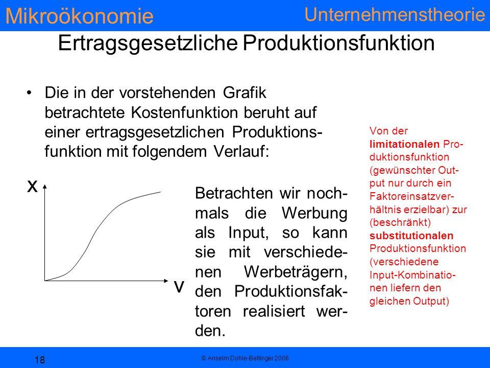 Mikroökonomie Unternehmenstheorie © Anselm Dohle-Beltinger 2006 18 Ertragsgesetzliche Produktionsfunktion Die in der vorstehenden Grafik betrachtete Kostenfunktion beruht auf einer ertragsgesetzlichen Produktions- funktion mit folgendem Verlauf: Von der limitationalen Pro- duktionsfunktion (gewünschter Out- put nur durch ein Faktoreinsatzver- hältnis erzielbar) zur (beschränkt) substitutionalen Produktionsfunktion (verschiedene Input-Kombinatio- nen liefern den gleichen Output) v x Betrachten wir noch- mals die Werbung als Input, so kann sie mit verschiede- nen Werbeträgern, den Produktionsfak- toren realisiert wer- den.