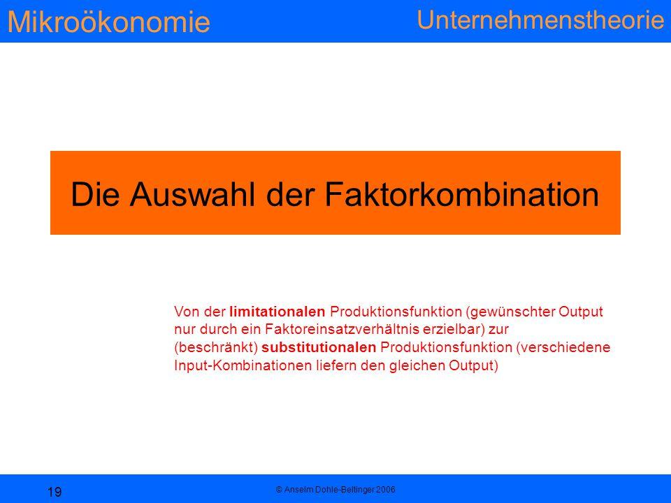 Mikroökonomie Unternehmenstheorie © Anselm Dohle-Beltinger 2006 19 Die Auswahl der Faktorkombination Von der limitationalen Produktionsfunktion (gewün