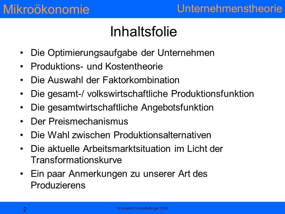 Mikroökonomie Unternehmenstheorie © Anselm Dohle-Beltinger 2006 2 Inhaltsfolie Die Optimierungsaufgabe der Unternehmen Produktions- und Kostentheorie