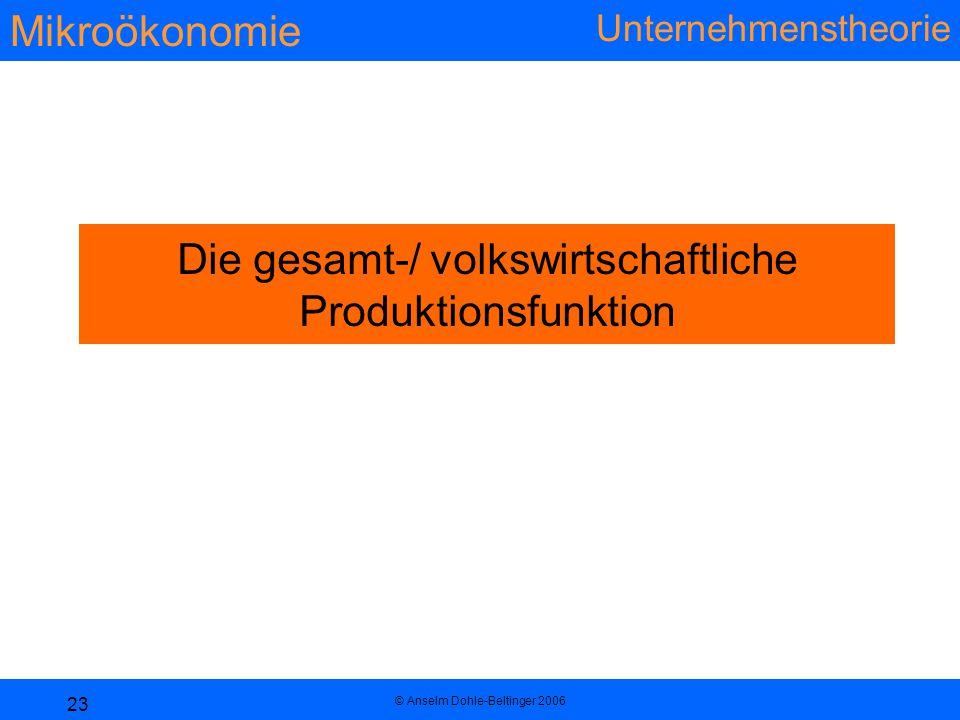 Mikroökonomie Unternehmenstheorie © Anselm Dohle-Beltinger 2006 23 Die gesamt-/ volkswirtschaftliche Produktionsfunktion